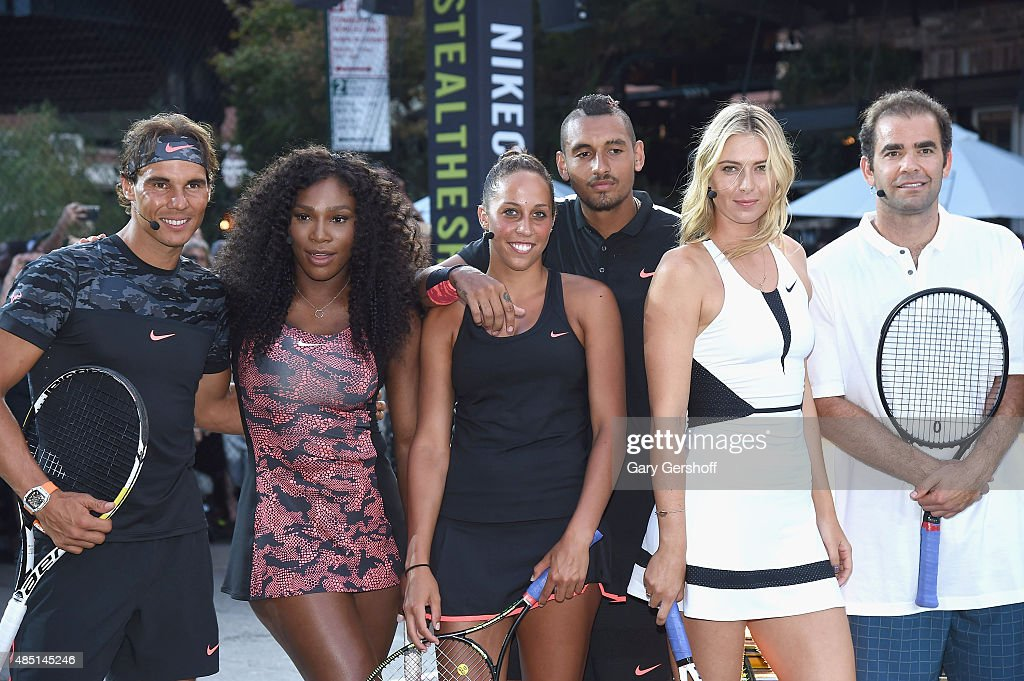 Tennis players <a gi-track='captionPersonalityLinkClicked' href=/galleries/search?phrase=Rafael+Nadal&family=editorial&specificpeople=194996 ng-click='$event.stopPropagation()'>Rafael Nadal</a>, <a gi-track='captionPersonalityLinkClicked' href=/galleries/search?phrase=Serena+Williams&family=editorial&specificpeople=171101 ng-click='$event.stopPropagation()'>Serena Williams</a>, <a gi-track='captionPersonalityLinkClicked' href=/galleries/search?phrase=Madison+Keys&family=editorial&specificpeople=5965706 ng-click='$event.stopPropagation()'>Madison Keys</a>, Nick Kyrgious, <a gi-track='captionPersonalityLinkClicked' href=/galleries/search?phrase=Maria+Sharapova&family=editorial&specificpeople=157600 ng-click='$event.stopPropagation()'>Maria Sharapova</a>, and <a gi-track='captionPersonalityLinkClicked' href=/galleries/search?phrase=Pete+Sampras&family=editorial&specificpeople=202162 ng-click='$event.stopPropagation()'>Pete Sampras</a> attend Nike's 'NYC Street Tennis' event on August 24, 2015 in New York City.