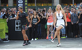 Tennis players Roger Federer and Maria Sharapova attend Nike's 'NYC Street Tennis' Event on August 24 2015 in New York City