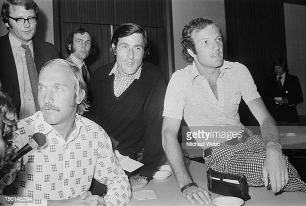 Tennis players Stan Smith Ilie Nastase and Tom Okker at a meeting of the Association of Tennis Professionals in London 20th June 1973 The meeting...