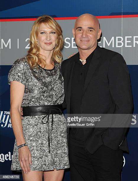 Tennis players Steffi Graf and Andre Agassi attend the Longines Los Angeles Masters Red Carpet and Charity ProAM at Los Angeles Convention Center on...