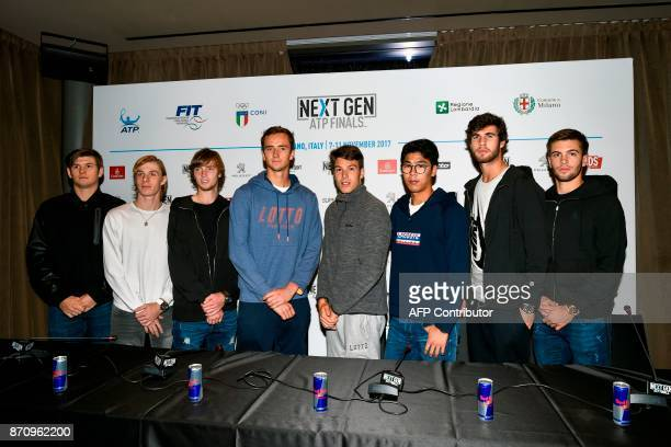 Tennis players US Jared Donaldson Canadian Denis Shapovalov Russian Andrey Rublev Russian Daniil Medvedev Italian Gianluigi Quinzi South Korean Chung...