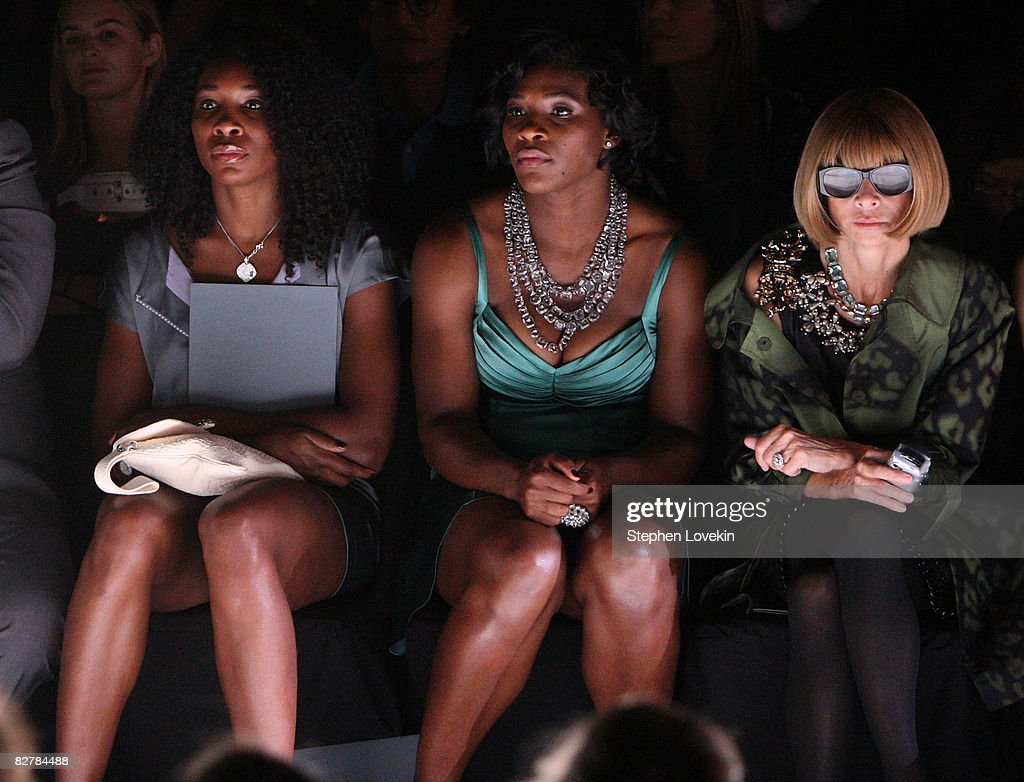 Tennis players Venus Williams and Serena Williams and Vogue Editor in Chief Anna Wintour attend the Zac Posen Spring 2009 fashion show during Mercedes-Benz Fashion Week at The Tent, Bryant Park on September 11, 2008 in New York City.
