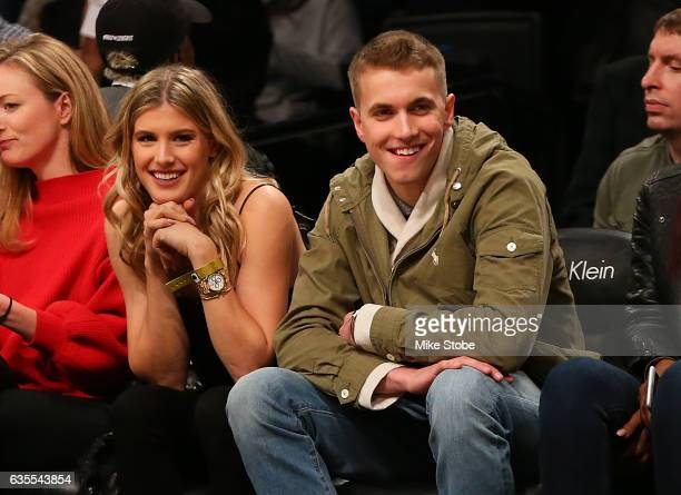 Tennis Pro Genie Bouchard attend a game with her twitter date John Goehrke at Barclays Center on February 15 2017 in Brooklyn borough of New York...