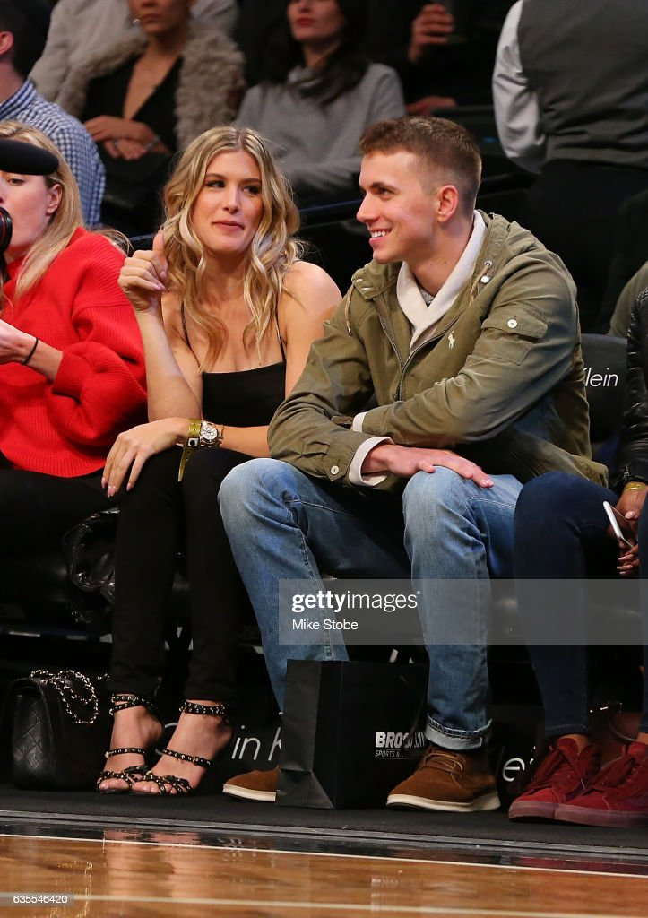 Tennis Pro Genie Bouchard attend a game with her twitter date John Goehrke at Barclays Center on February 15, 2017 in Brooklyn borough of New York City. Genie Bouchard, who bet the Atlanta Falcons to win the Super Bowl, agreed to go on a date with a random fan.