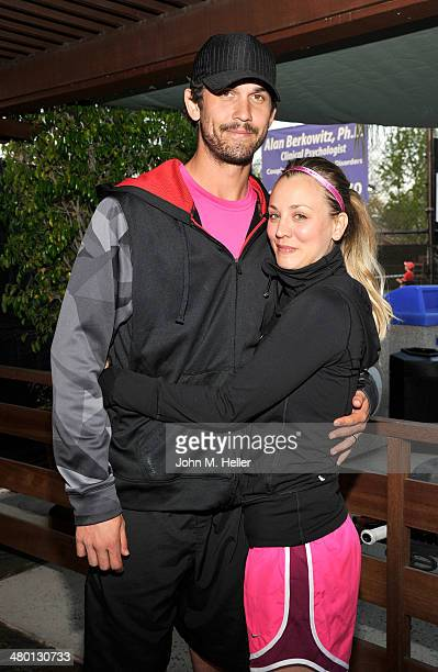 Tennis professional Ryan Sweeting and Actress Kaley Cuoco attend the 2014 USTA Men's Pro Tennis Championships Of Calabasas at the Calabasas Tennis...