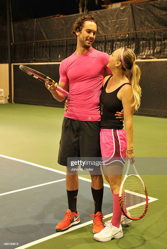 Tennis professional Ryan Sweeting and actress Kaley Cuoco Sweeting play in a celebrity tennis match at the 2014 USTA Men's Pro Tennis Championships...