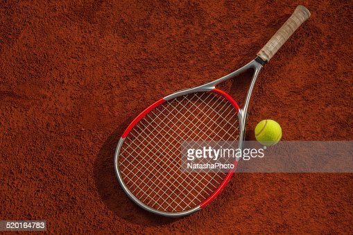 Tennis Racket And Ball On The Court : Stock Photo