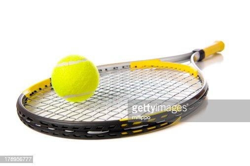 Tennis Racket and ball on white : Stock Photo