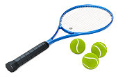 Tennis racket and balls, 3D rendering isolated on white background