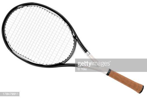 Tennis Racket Black and White Style : Stock Photo