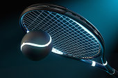 High detailed 3D tennis racket with light source parts and a tennis ball on a dark background with blue futuristic style