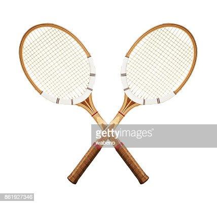 Tennis rackets on white : Stock Photo