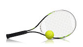 Tennis rackets and ball on white background