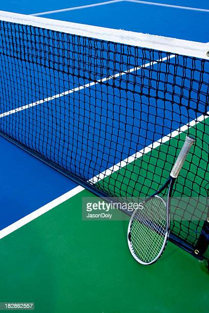 Tennis Racquet Blue Green Court