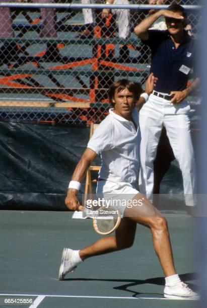 Saga Bay Tennis Classic John Alexander in action during semifinal match vs Dick Stockton at University of Miami Coral Gables FL CREDIT Lane Stewart
