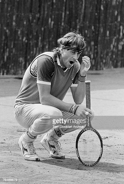 Tennis star Bjorn Borg yawning before competing in his last ever professional tournament at the Monte Carlo Open