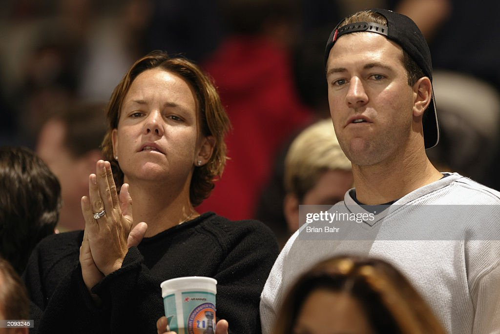 Tennis star Lindsay Davenport and husband Bart Van Roost watch as the Anaheim Mighty Ducks take on the New Jersey Devils during Game Six of the 2003 Stanley Cup Finals at the Arrowhead Pond of Anaheim on June 7, 2003 in Anaheim, California. The Ducks won 5-2.