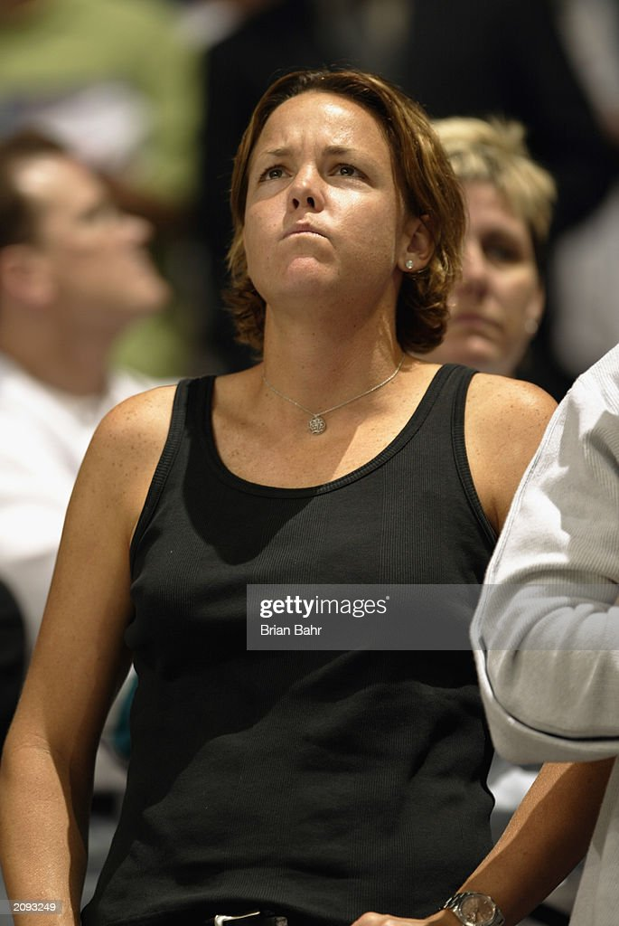Tennis star Lindsay Davenport watches as the Anaheim Mighty Ducks take on the New Jersey Devils during Game Six of the 2003 Stanley Cup Finals at the Arrowhead Pond of Anaheim on June 7, 2003 in Anaheim, California. The Ducks won 5-2.