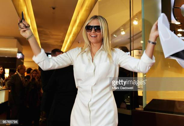 Tennis star Maria Sharapova officially opens TAG Heuer's first Melbourne boutique at Collins Street on January 14 2010 in Melbourne Australia