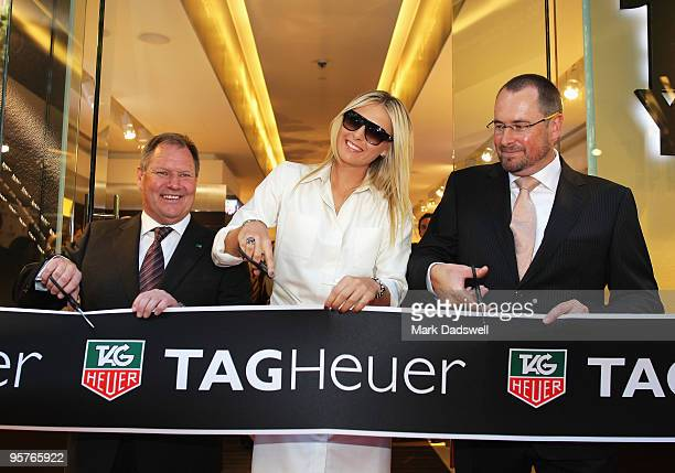 Tennis star Maria Sharapova with Lord Mayor of Melbourne Robert Doyle and TAG Heuer General Manager Philip Richards officially open TAG Heuer's first...