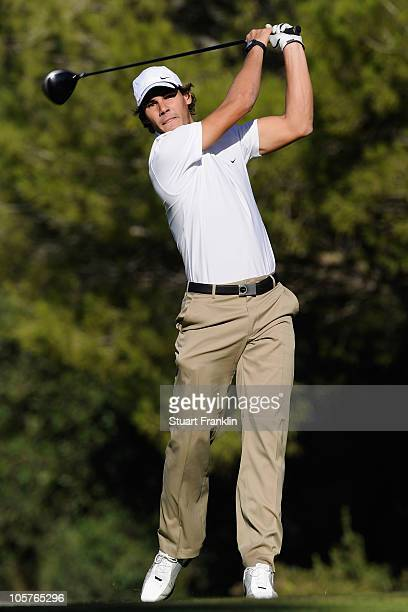 Tennis star Rafael Nadal of Spain in action during the pro am prior to the start of the Castello Masters Costa Azahar at the Club de Campo del...