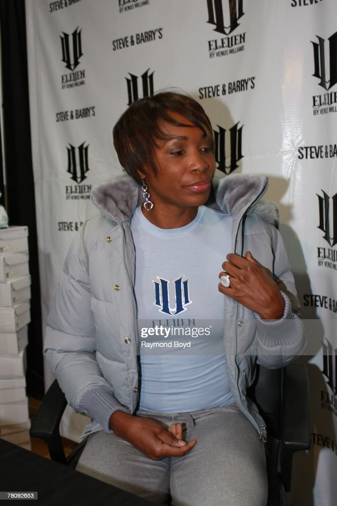 Tennis star <a gi-track='captionPersonalityLinkClicked' href=/galleries/search?phrase=Venus+Williams&family=editorial&specificpeople=171981 ng-click='$event.stopPropagation()'>Venus Williams</a> introduced her clothing line, 'EleVen by <a gi-track='captionPersonalityLinkClicked' href=/galleries/search?phrase=Venus+Williams&family=editorial&specificpeople=171981 ng-click='$event.stopPropagation()'>Venus Williams</a>' and signed autographs at Steve and Barrys in Oak Lawn, Illinois on November 16, 2007.