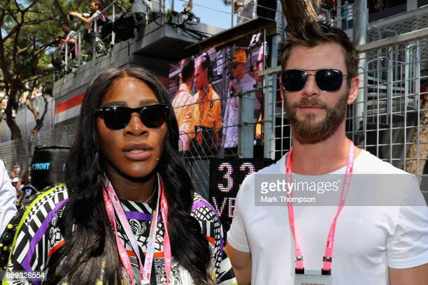Tennis superstar Serena Williams with actor Chris Hemsworth on the grid during the Monaco Formula One Grand Prix at Circuit de Monaco on May 28 2017...