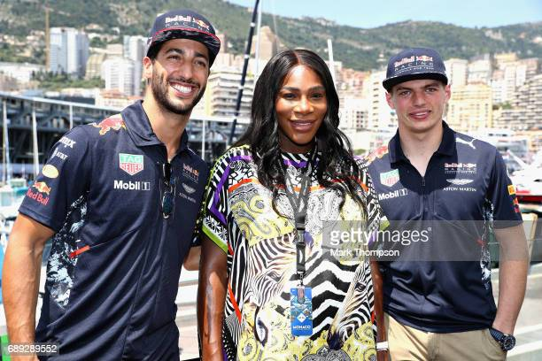 Tennis superstar Serena Williams with Daniel Ricciardo of Australia and Red Bull Racing and Max Verstappen of Netherlands and Red Bull Racing during...