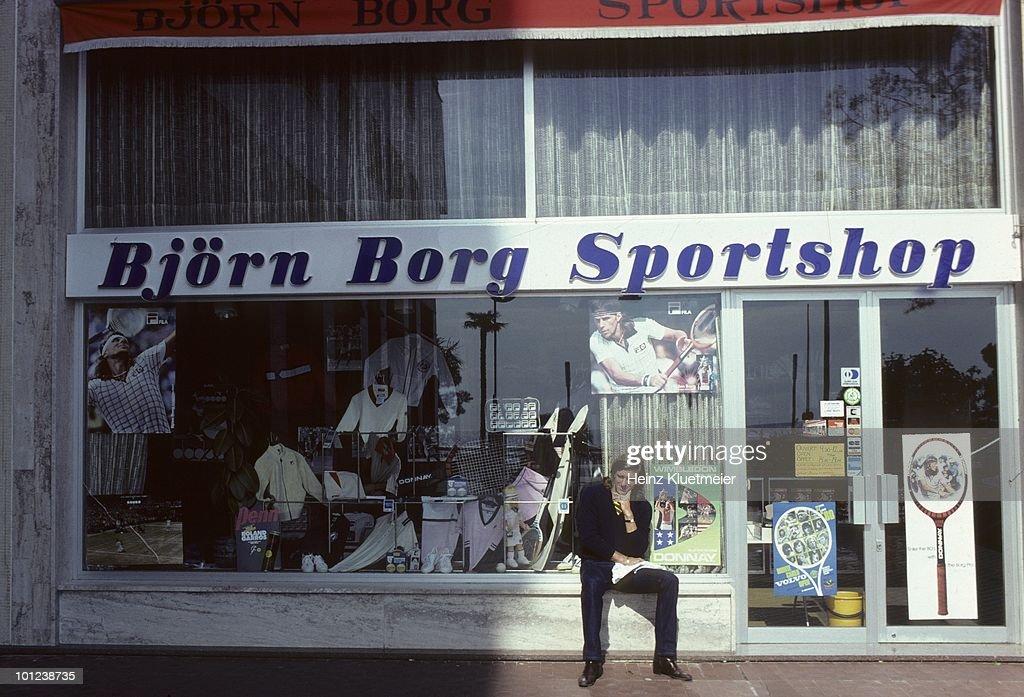Sweden Bjorn Borg outside of sports store during photo shoot. Monte Carlo, Monaco 3/1/1980--3/31/1980