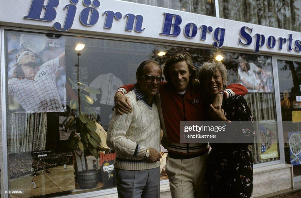 Sweden Bjorn Borg outside of sports store with parents during photo shoot. Monte Carlo, Monaco 3/1/1980--3/31/1980