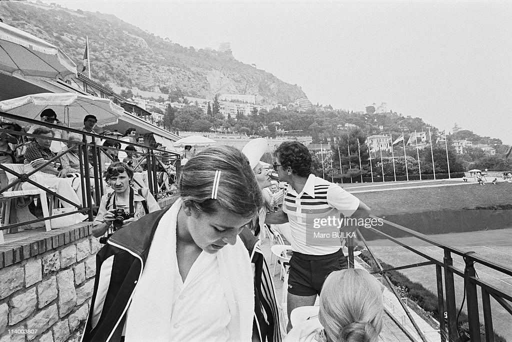 Tennis Tournament Caroline and PJunot In Monaco City Monaco On July 09 1979Caroline Philippe Junot kissing a woman