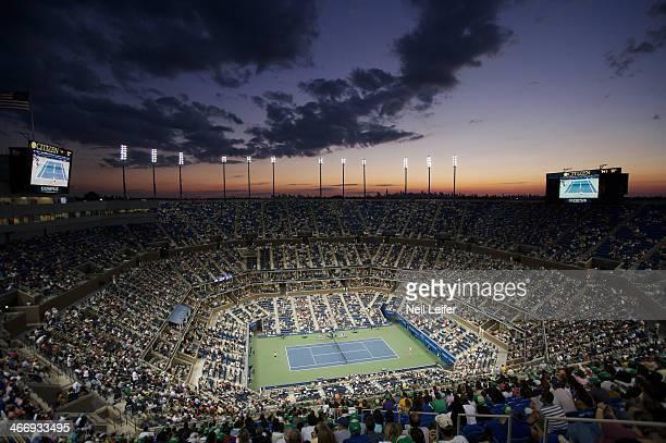 US Open Aerial view of Arthur Ashe Stadium during Women's Quarterfinals between Russia Elena Dementieva and USA Lindsay Davenport at USTA National...