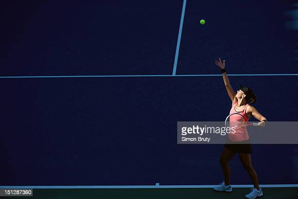 US Open Aerial view of Australia Casey Dellacqua in action serve vs China Lin Na during Women's 2nd Round at BJK National Tennis Center Flushing NY...
