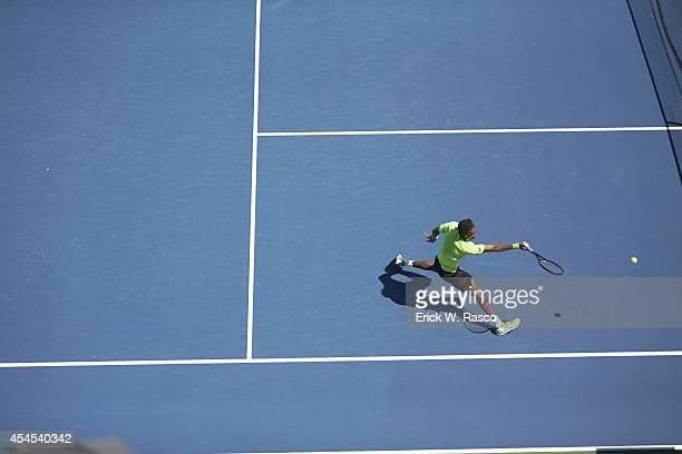 US Open Aerial view of France Gaels Monfils in action vs Colombia Alejandro Gonzalez during Men's 2nd Round match at BJK National Tennis Center...