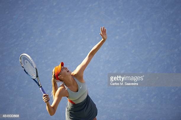 US Open Aerial view of Russia Maria Sharapova in action serve vs Romania Alexandra Dulgheru during Women's 2nd Round match at BJK National Tennis...