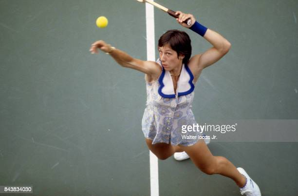 US Open Aerial view of USA Martina Navratilova in action serving at National Tennis Center Flushing NY CREDIT Walter Iooss Jr
