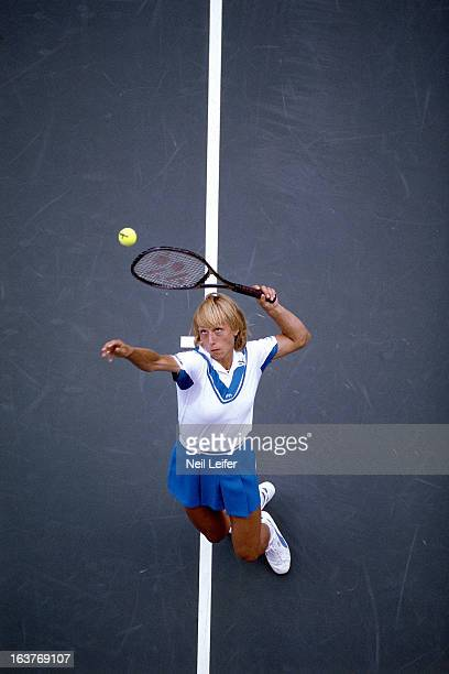 US Open Aerial view of USA Martina Navritilova in action serve at National Tennis Center Flushing NY CREDIT Neil Leifer