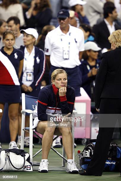 US Open Belgium Kim Clijsters sitting on sidelines after winning Women's Semifinals vs USA Serena Williams at National Tennis Center Williams was...