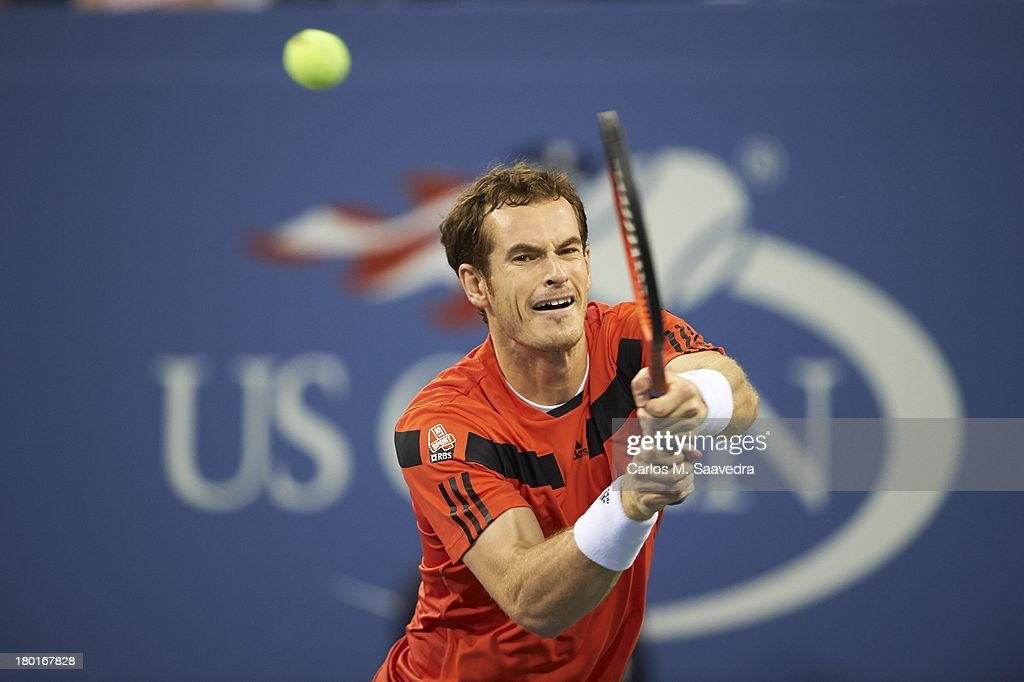 Closeup of Great Britain Andy Murray in action vs Uzbekistan Denis Istomin during Men's 4th Round at BJK National Tennis Center. Carlos M. Saavedra F284 )
