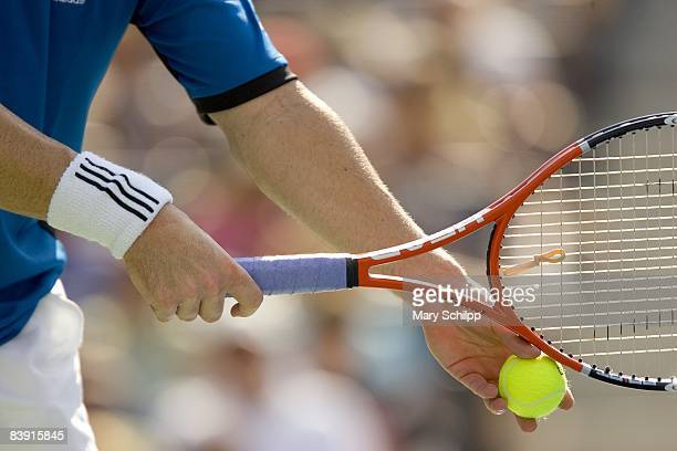 Tennis US Open Closeup of hand and racket equipment pf USA Andre Agassi during 2nd Round match vs Croatia Ivo Karlovic at National Tennis Center...