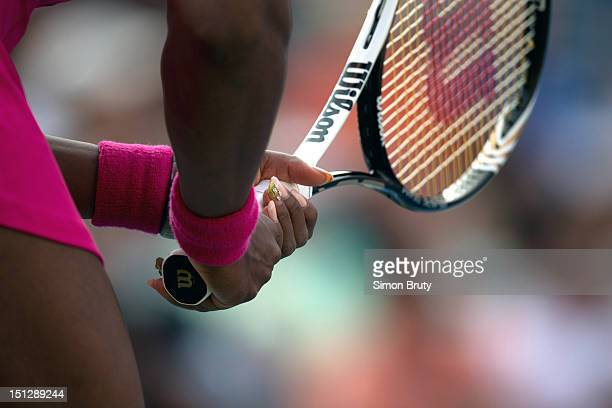 US Open Closeup of hand and racket of USA Serena Williams during Women's 2nd Round match vs Spain Maria Jose Martinez Sanchez at BJK National Tennis...
