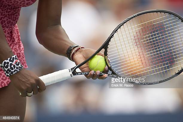 US Open Closeup of hands and racket of USA Serena Williams during Women's 3rd Round match vs USA Varvara Lepchenko at BJK National Tennis Center...