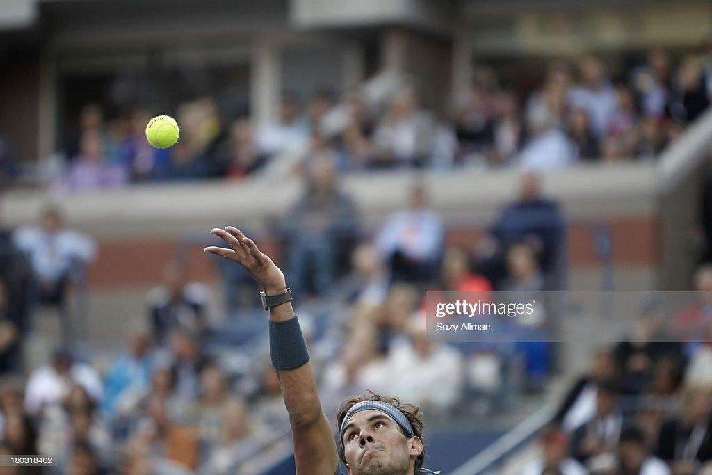 Closeup of Spain Rafael Nadal in action, serve vs Serbia Novak Djokovic during Men's Final at BJK National Tennis Center. Suzy Allman F57 )
