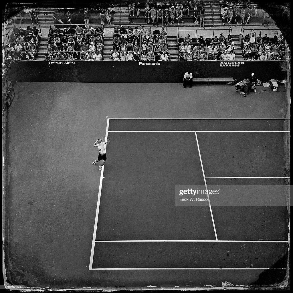Croatia Ivan Dodig in action, serve vs Spain Fernando Verdasco during Men's First Round match at BJK National Tennis Center. Erick W. Rasco F2 )