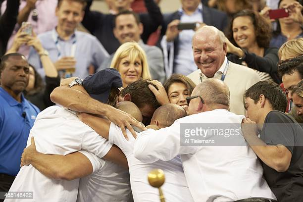 US Open Croatia Marin Cilic victorious in the stands with team and family after winning Men's Final vs Japan Kei Nishikori at BJK National Tennis...