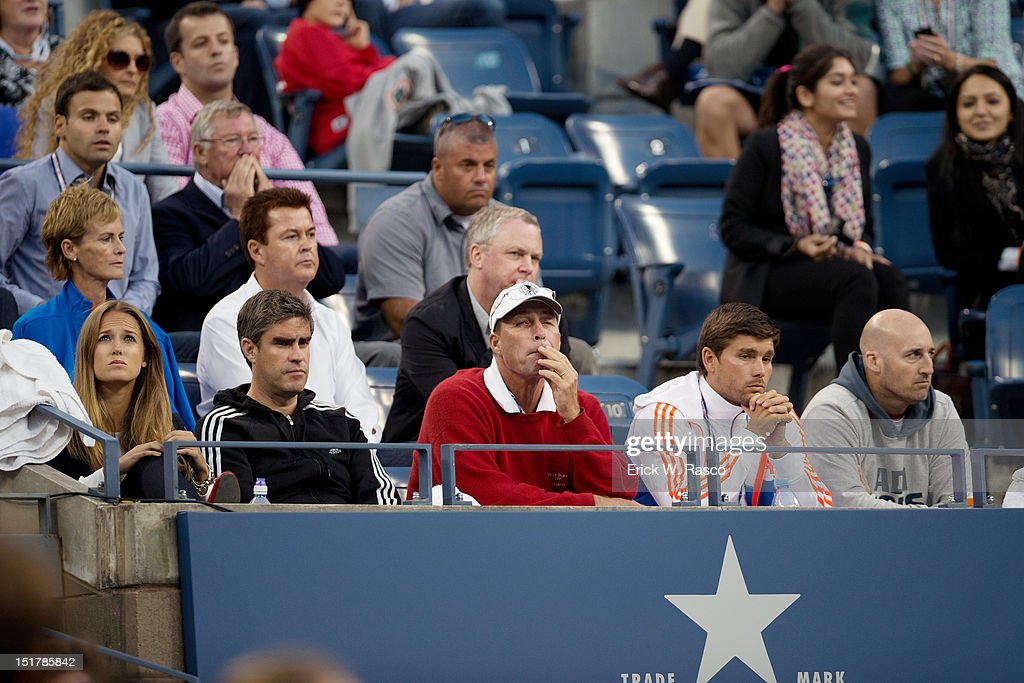 Former pro Ivan Lendl, coach for Great Britain Andy Murray, in stands during Men's Final vs Serbia Novak Djokovic at BJK National Tennis Center. Erick W. Rasco F102 )