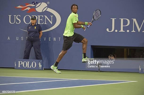 US Open France Gael Monfils in action vs Switzerland Roger Federer during Men's Quarterfinals match at BJK National Tennis Center Flushing NY CREDIT...