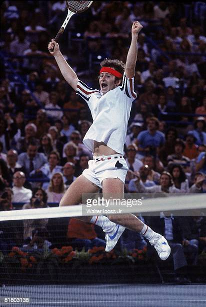 Tennis US Open John McEnroe vicotorious after winning finals match vs Vitas Gerulaitis at National Tennis Center Flushing NY 9/9/1979
