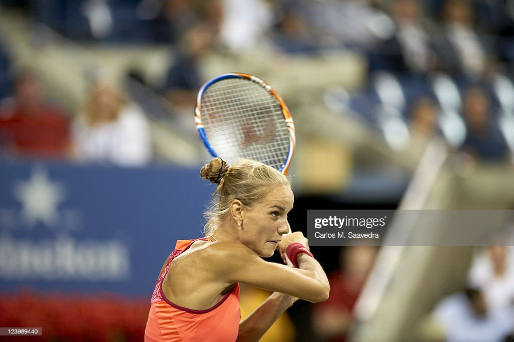 Netherlands <a gi-track='captionPersonalityLinkClicked' href=/galleries/search?phrase=Arantxa+Rus&family=editorial&specificpeople=4387294 ng-click='$event.stopPropagation()'>Arantxa Rus</a> in action vs Denmark Caroline Wozniacki during Women's 2nd Round at BJK National Tennis Center. Carlos M. Saavedra F6 )