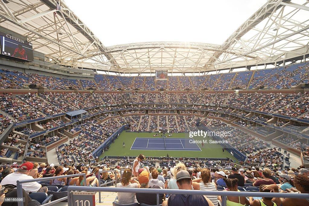 US Open Overall view of court and Arthur Ashe Stadium during Serbia Novak Djokovic vs Brazil Joao Souza Men's 1st Round match at BJK National Tennis...